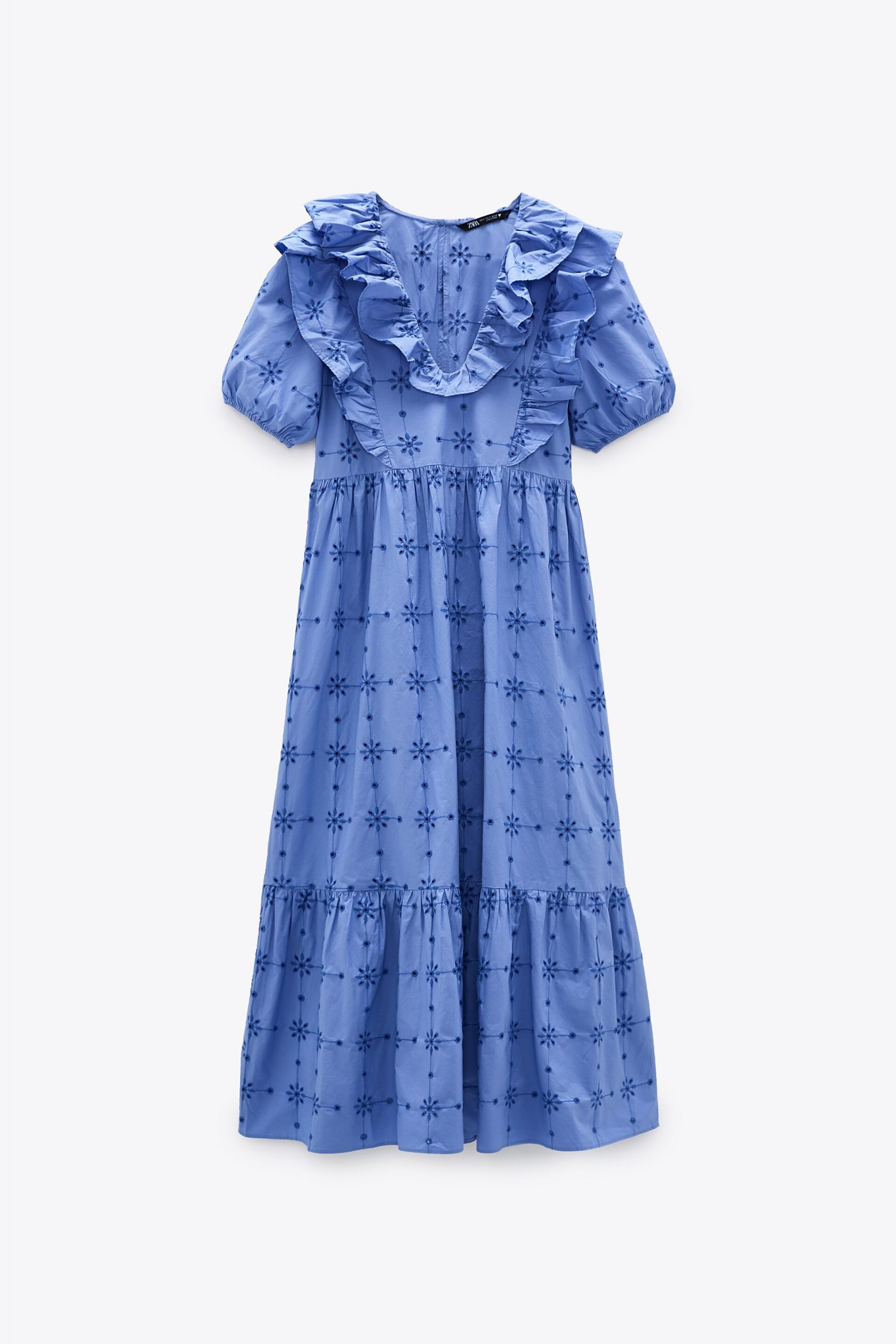 Full-length blue dress with ruffled sleeves and blue floral embroidery