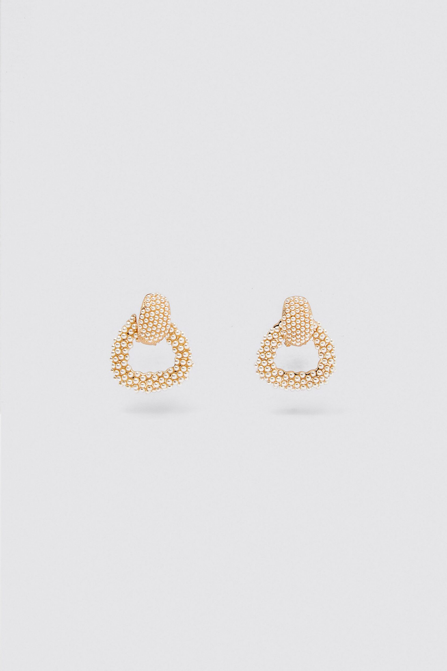 Small old hoop earrings with tiny pearls all over