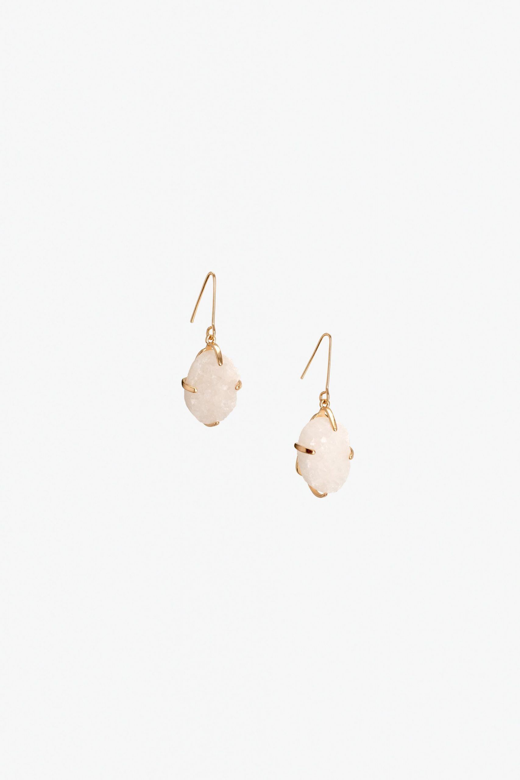 Small gold and rose quartz drop earrings