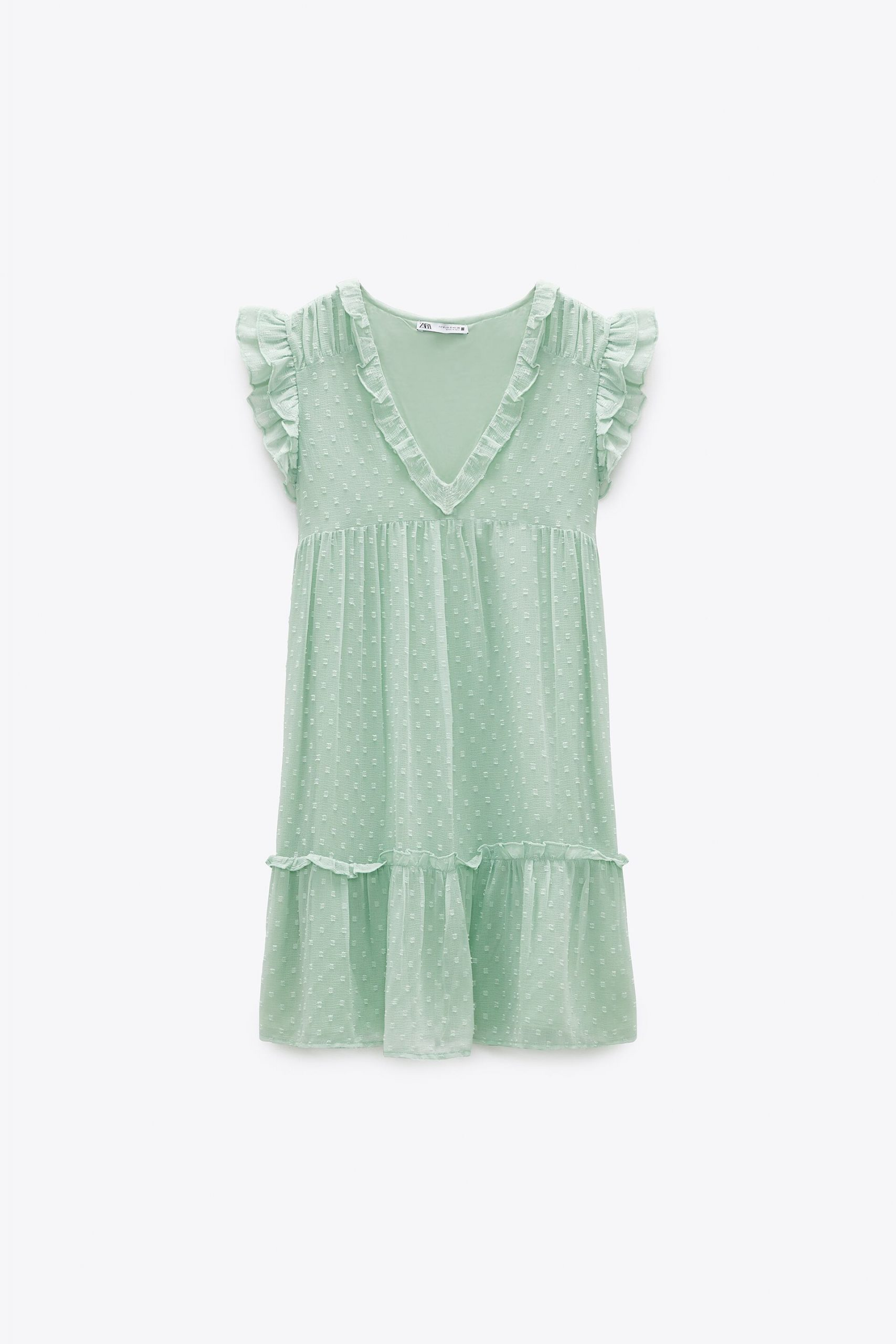 Mid-length mint dress with ruffle v-neck and short ruffled sleeves