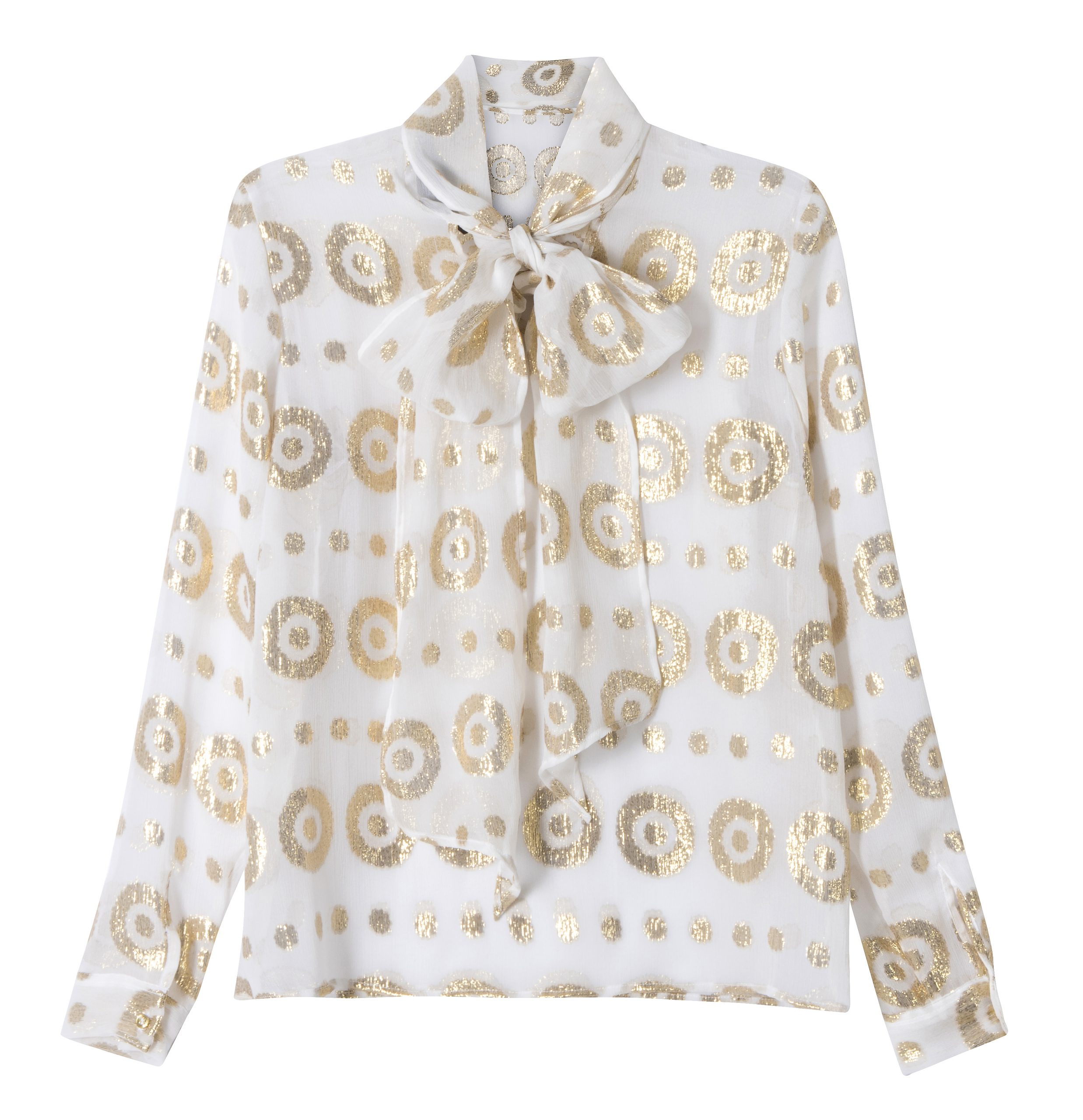 White pussy-bow shirt with gold circular print