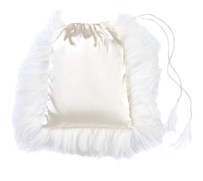 Small satin bag with draw strings and ostrich feather trimming