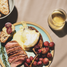 Grilled steak with roasted grapes recipe
