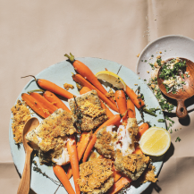 Parmesan crusted hake with glazed carrots