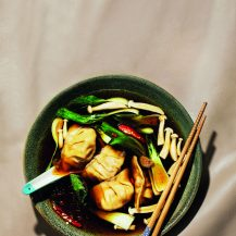 Dumplings in chilli soy broth